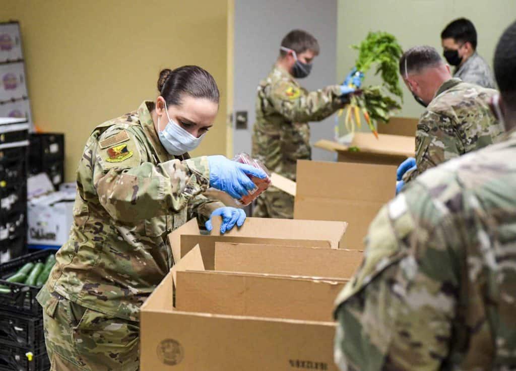 Soldiers Packaging Food